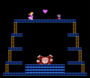 Donkey Kong fell on his dome and Mario saved Pauline. Spoiler alert: They break up and he goes after Peach.